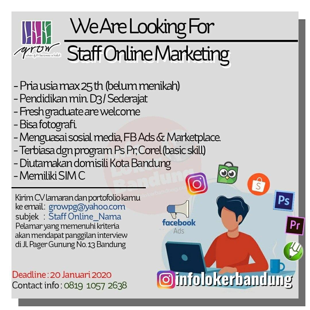 Lowongan Kerja Staff Online Marketing Grow Gift Shop Bandung Januari 2020