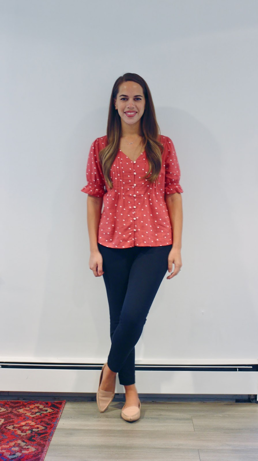 Jules in Flats -  Polka Dot Button Front Top (Business Casual Summer Workwear on a Budget)