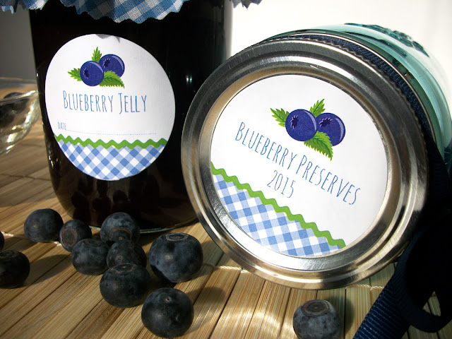 Gingham Blueberry canning labels