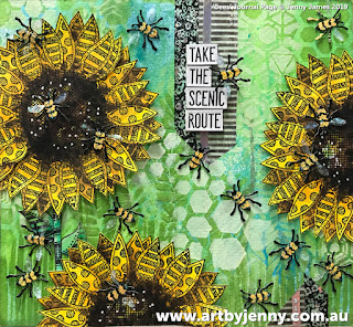 finished mixed media artwork by Jenny James featuring sunflowers, bees and their hive