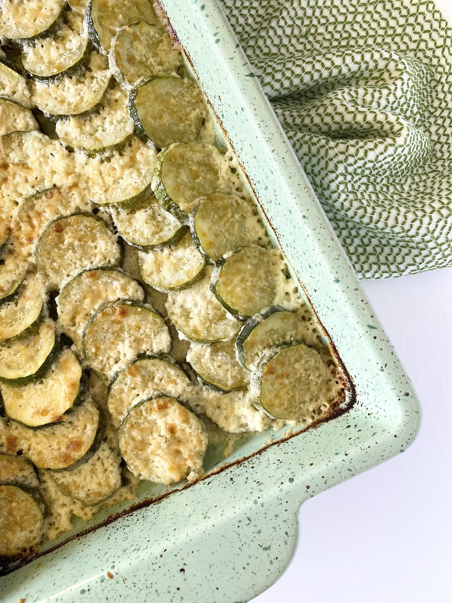 Scalloped Parmesan Zucchini Bake