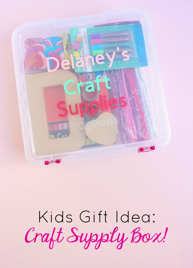 Fill a clear tub with new craft supplies for a personalized gift idea that kids will love! #kidsgiftidea #kidscraftsupplies #craftsupplybox #personalizedgift #personalizedkidsgift #cricutcraft