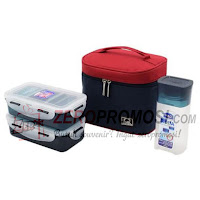 Lock & Lock Lunch Box 3 Pcs Set with Basic Pattern Bag HPL758S3CB