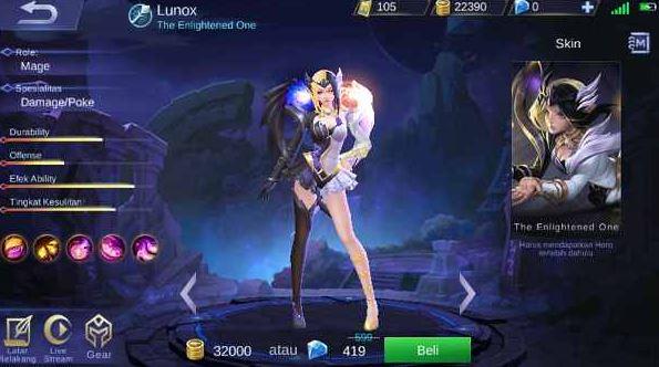 kapan tanggal rilis hero Lunox Mobile Legends di server ori