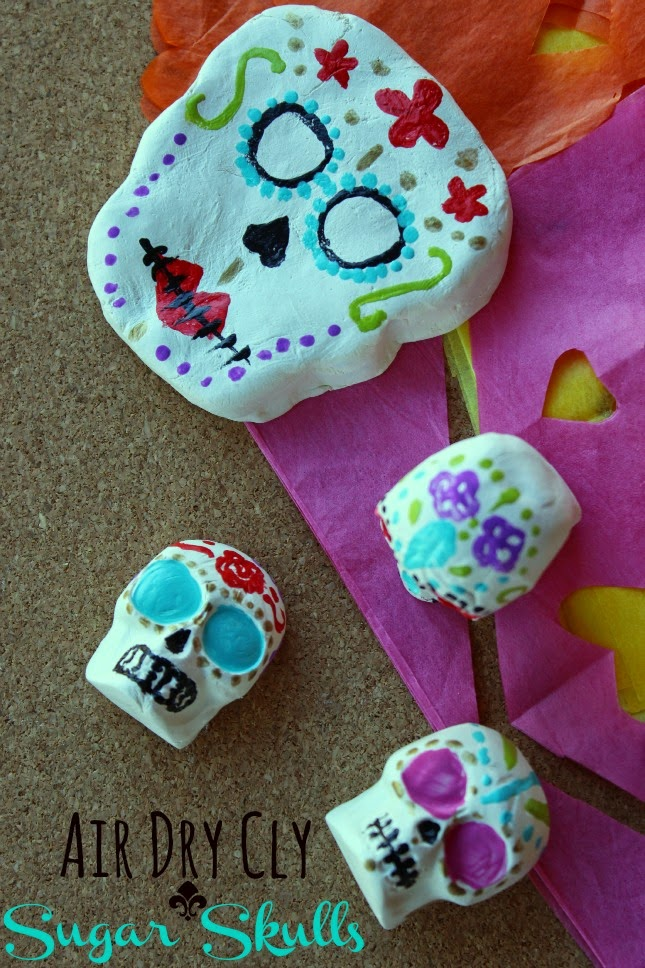 Air Dry Clay Sugar Skulls -Una Mexicana en USA www.unamexicanaenusa.com