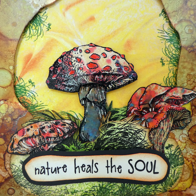 toadstool stamp | nature heals the soul | stamps