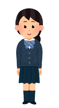合服を着た女子学生のイラスト(カーディガン・リボンあり)