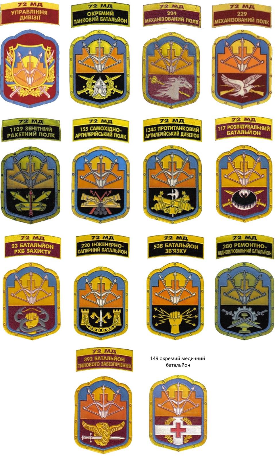 система нарукавних знаків 72-ї механізованої дивізії