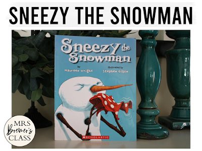 Sneezy the Snowman book study winter literacy unit with Common Core aligned companion activities and a craftivity for K-1