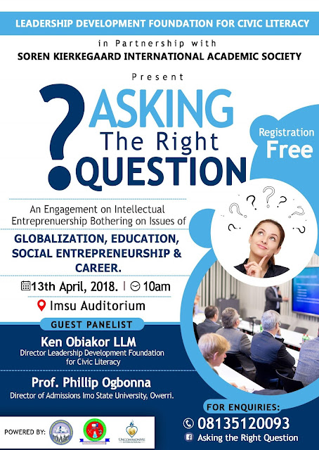 "Good News Owerri - Plan To Attend This Life Changing Seminar ""Asking The Right Questions"""