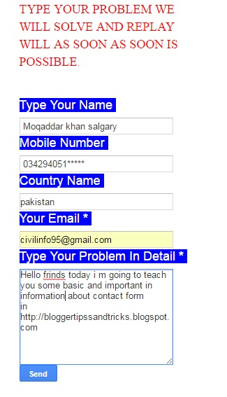How To Add Contact Form (Contact  Page) in Blogger