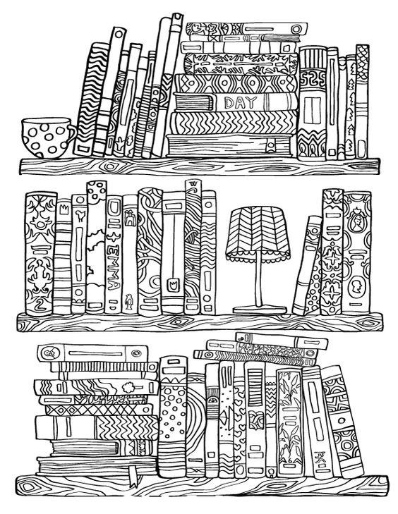 Tranh tô màu giá sách