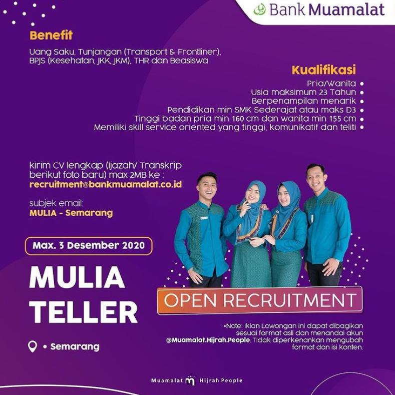Lowongan Kerja Bank Muamalat Semarang Rekrutmen Dan Lowongan Kerja Bulan Februari 2021