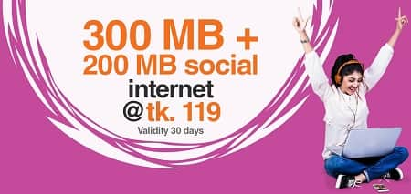 Banglalink 300 MB+200 MB Social Internet Package 119 Taka for 30 Days