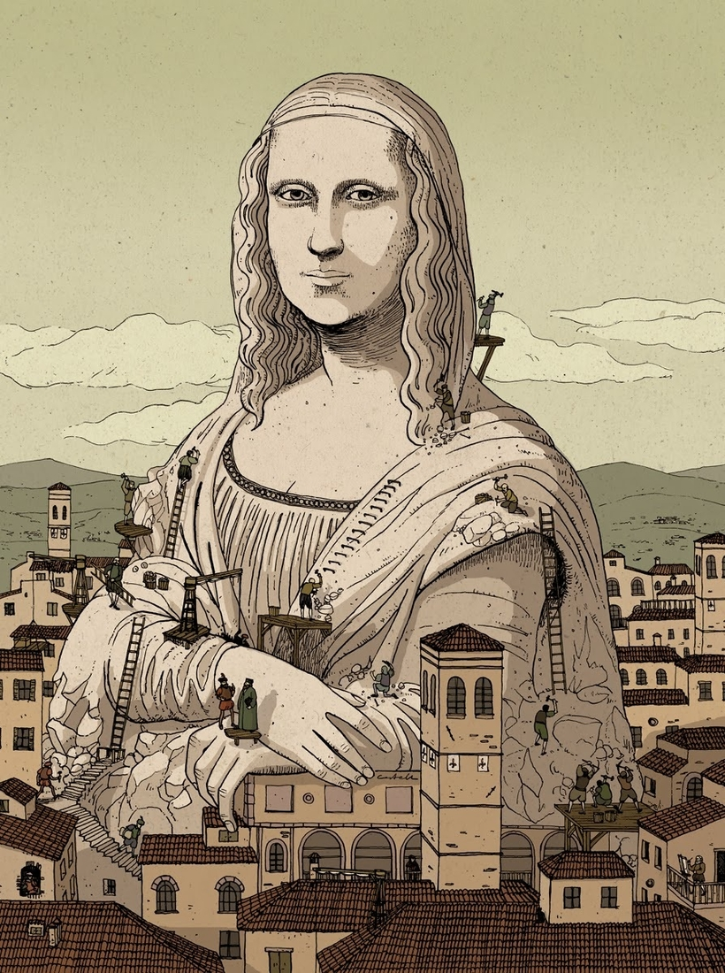 07-Mona-Lisa-Nicolás-Castell-Illustrations-that-are-Snapshots-of-the-story-they-are-Telling-www-designstack-co