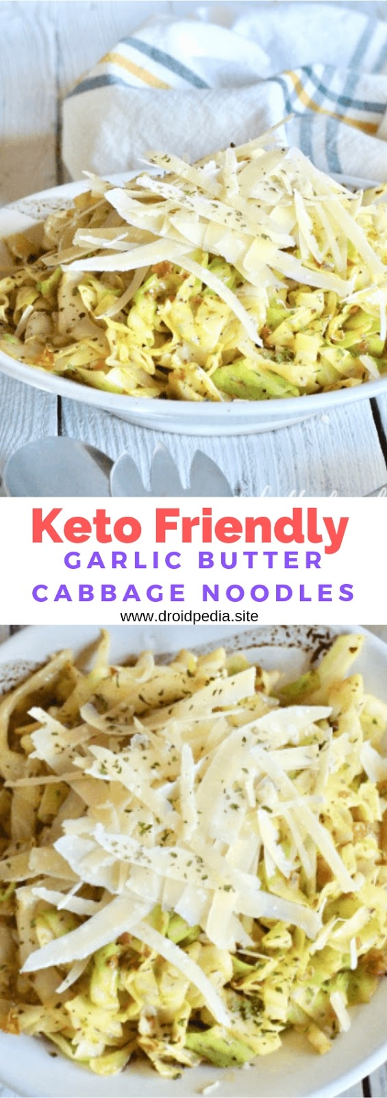 Keto Friendly Garlic Butter Cabbage Noodles #healthy #lunch #sidedish #keto #cabbage #noodles