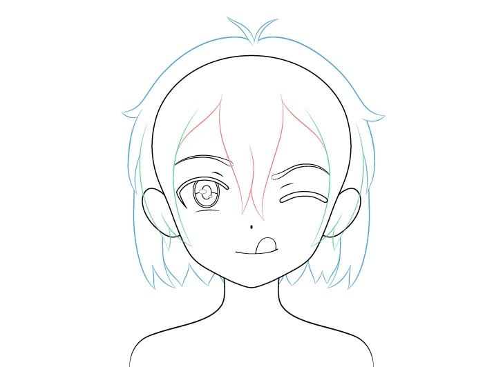 Gadis anime menggambar rambut dengan lidah