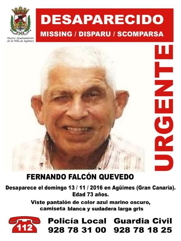 Familia del hombre desaparecido en Agüimes pide colaboración ciudadana