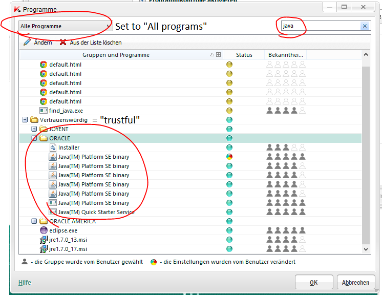 Then Select All Programs In The Combobox And Search For Java Expand The Trustful Programs Oracle Group