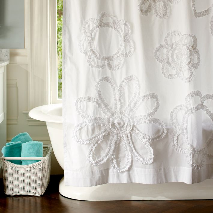 Pb Teen Ruffle Flower And Ruffle Rings Shower Curtain