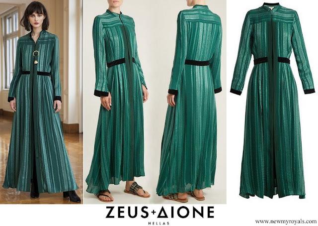 Queen Maxima wore Zeus+Dione Green Atlantis Geometric-jacquard Silk-blend Dress
