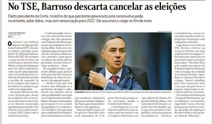 Eleito presidente do TSE, Barroso é contra adiar eleições municipais para 2022