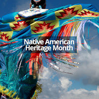 Image of a native american dancer.  Text: Native American Heritage Month