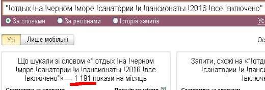 Яндекс Вордстат - подбор ключевых слов для длинного запроса