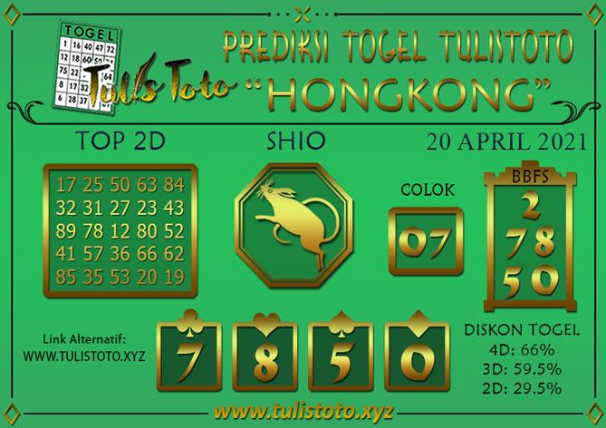 Prediksi Togel HONGKONG TULISTOTO 20 APRIL 2021