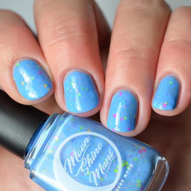 blue nail polish with glitter