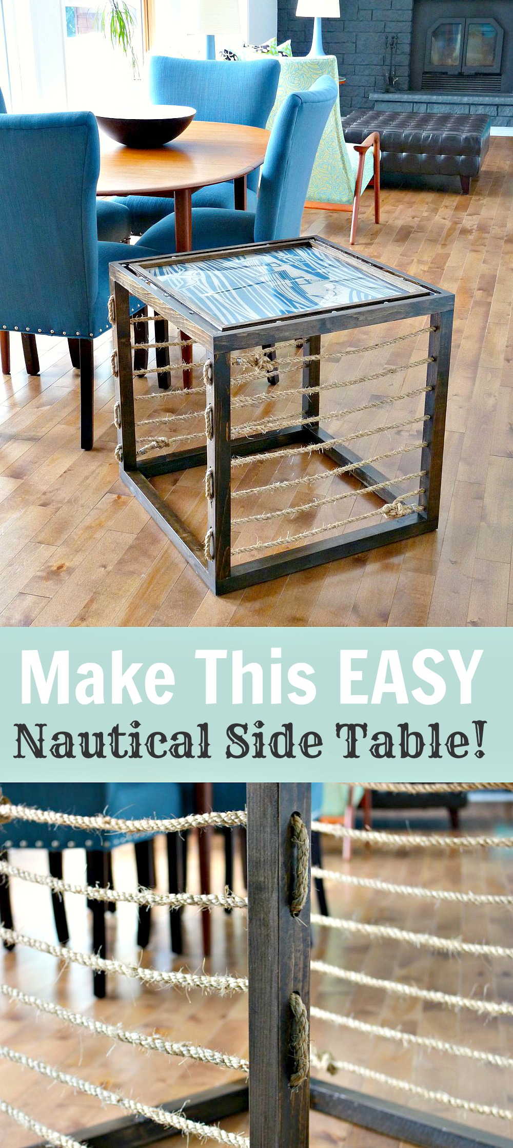 How to make an easy, solid wood cube side table with rope accents and a nautical feel // by @danslelakehouse