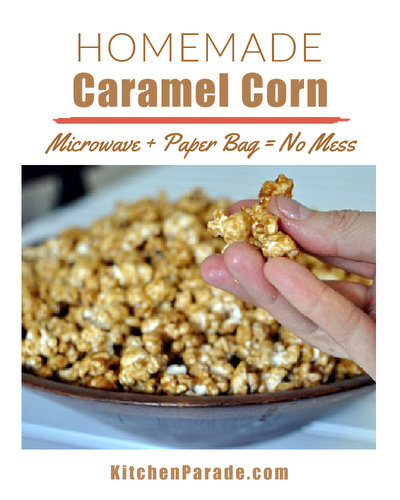 Homemade Caramel Corn ♥ KitchenParade.com, made in the microwave in a paper bag so no mess, no fuss. Fun for kids!