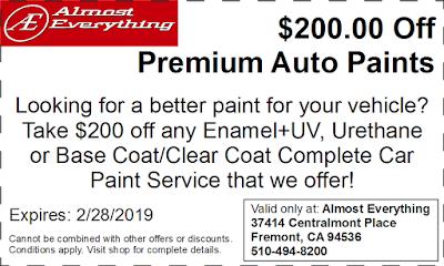 Discount Coupon $200 Off Premium Auto Paint Sale February 2019