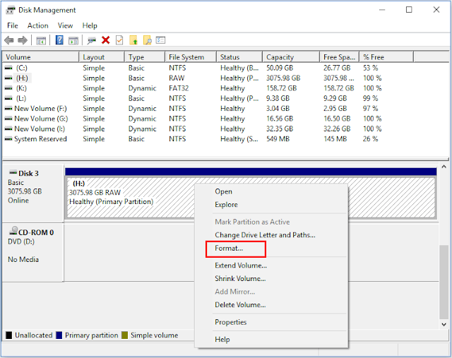 عمل فورمات للفلاشه من disk management
