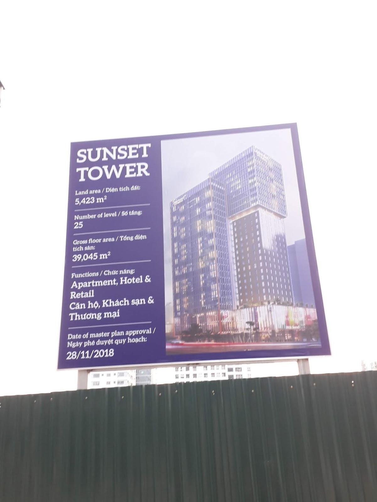 Bảng biển dự án căn hộ khách sạn, chung cư Sunset Tower.