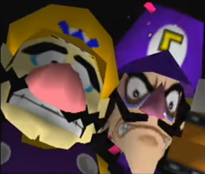 Mario Tennis 64 cutscene intro Wario Waluigi Bob-omb scared faces