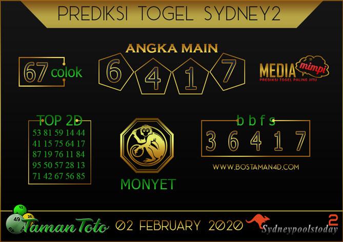 Prediksi Togel SYDNEY 2 TAMAN TOTO 02 FEBRUARY 2020