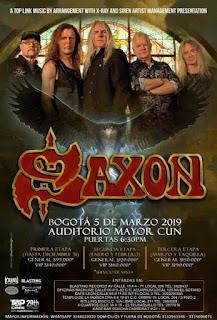 POSTER Concierto de SAXON en Bogotá 2019