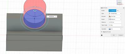 Extrude the smaller circle