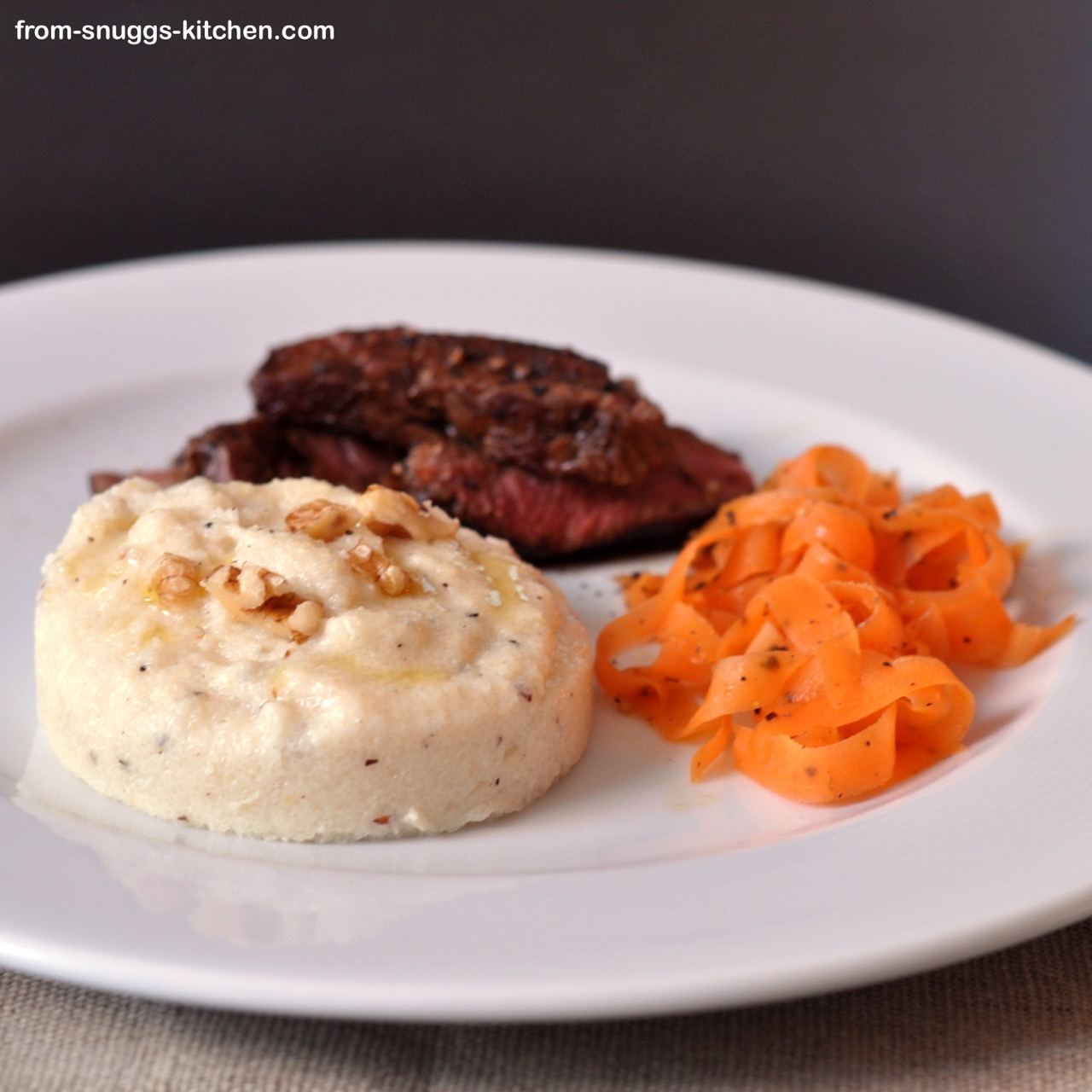 parmesan walnut polenta, honey-pepper carrot and beef tenderloin with balsamic vinegar