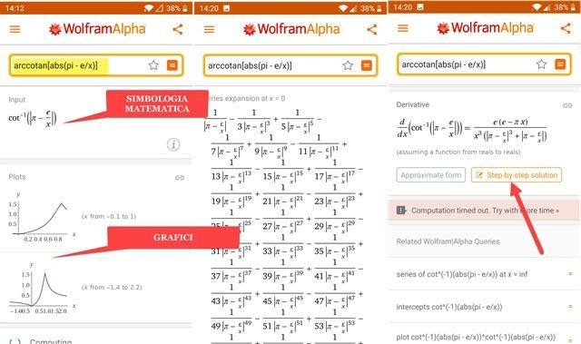 studio di funzione e grafico con wolframalpha