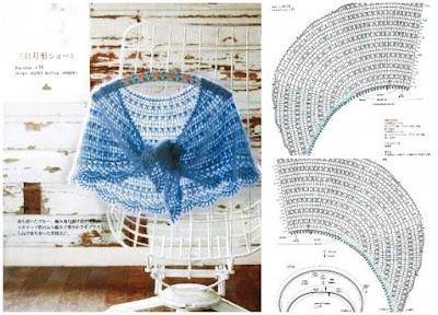 Chal extra delicado a crochet gráfico