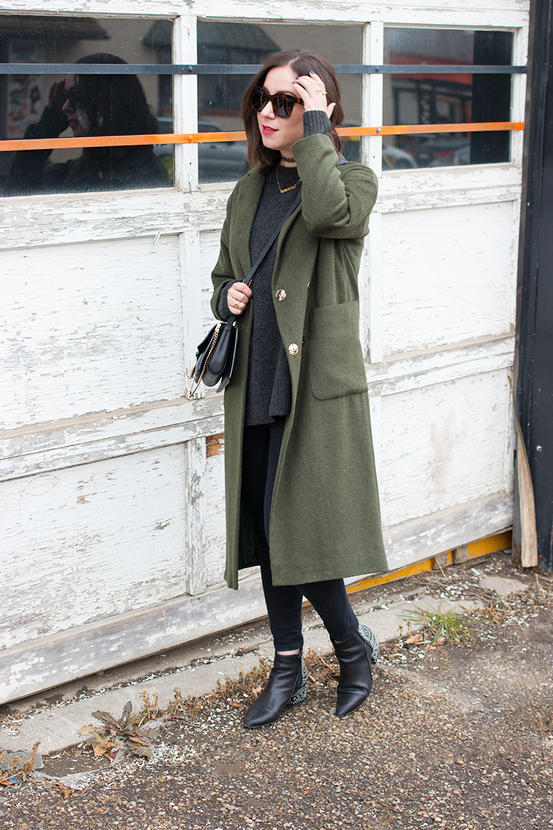Styling a forest green coat for fall
