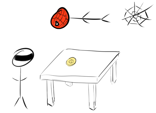 Spiderman on the ceiling while person on the ground is wearing a blindfold. On a table, a coin is facing heads up.