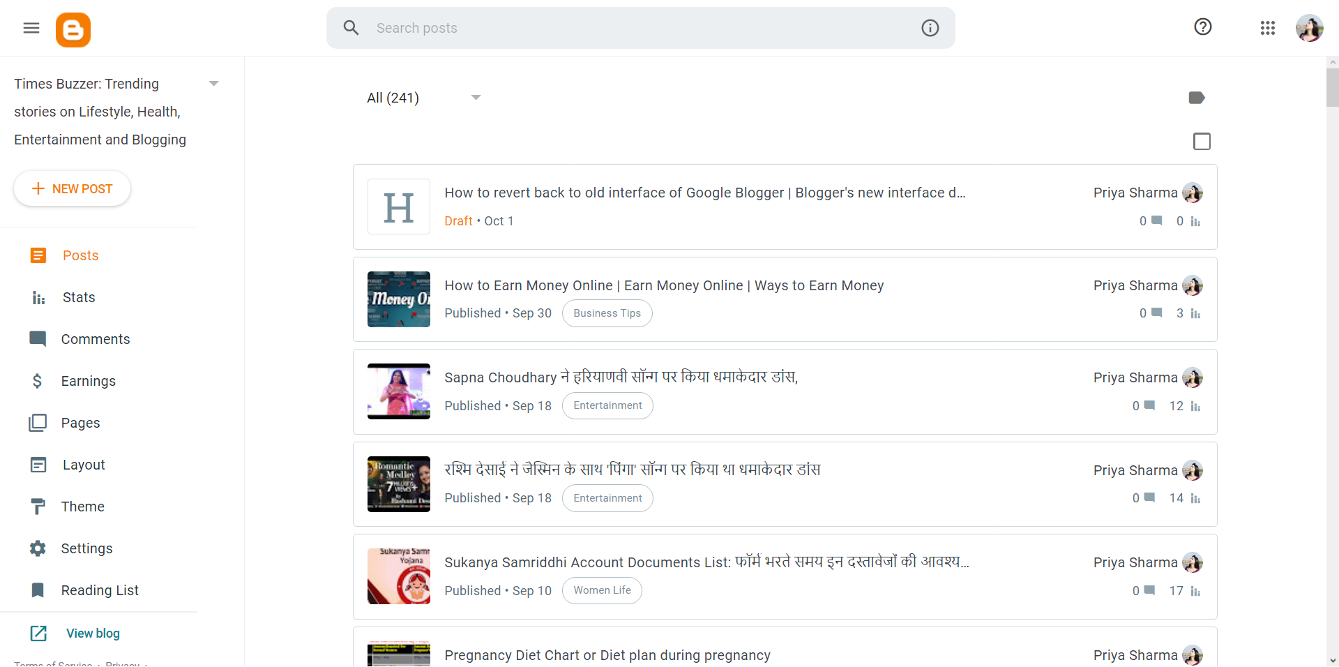 Google Blogger New Interface