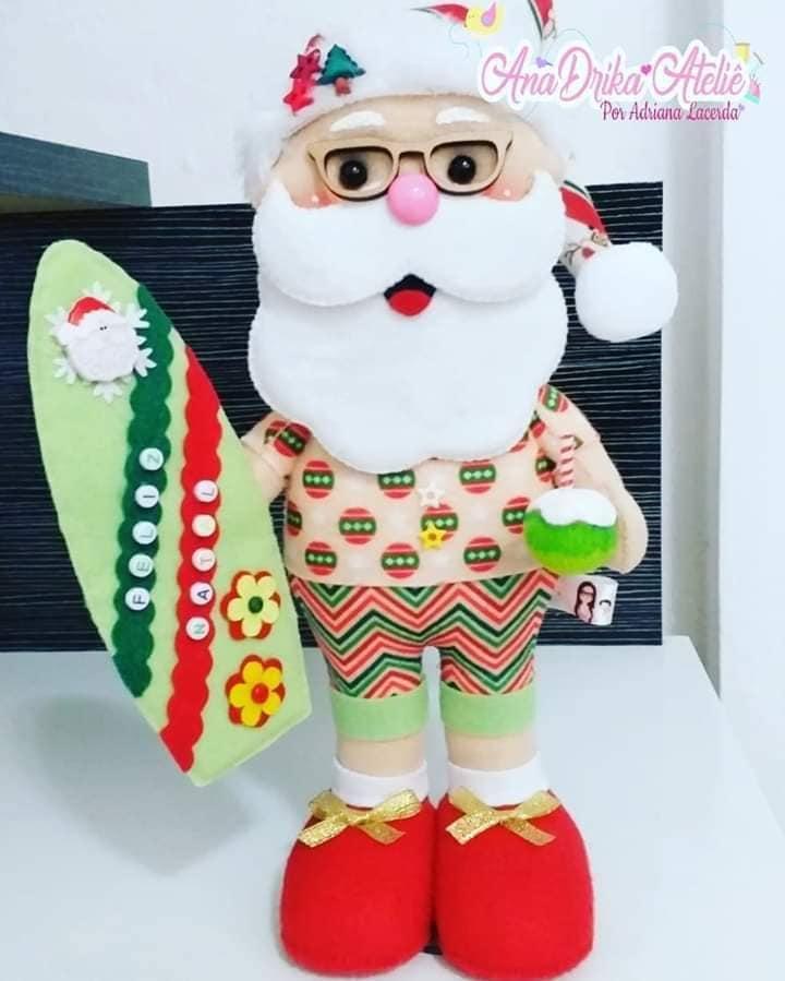 Papai Noel Surfista Com Molde Para Imprimir Em Feltro Como