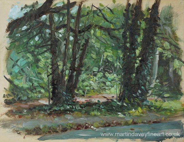 tree trucks by path southampton common art