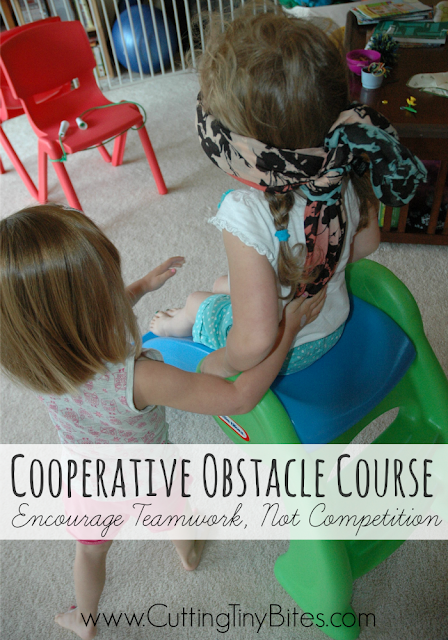 ooperative Obstacle Course: Encourage Teamwork, Not Competition. Awesome gross motor, communication, and listening activity for kids for a rainy day.