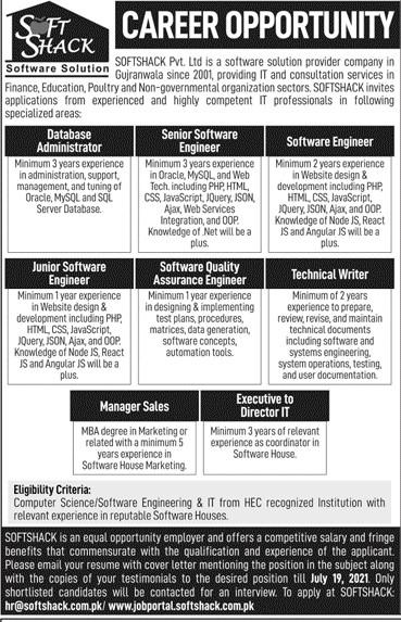 softshack.com.pk Jobs 2021 - SOFTSHACK Pvt Ltd Jobs 2021 in Pakistan