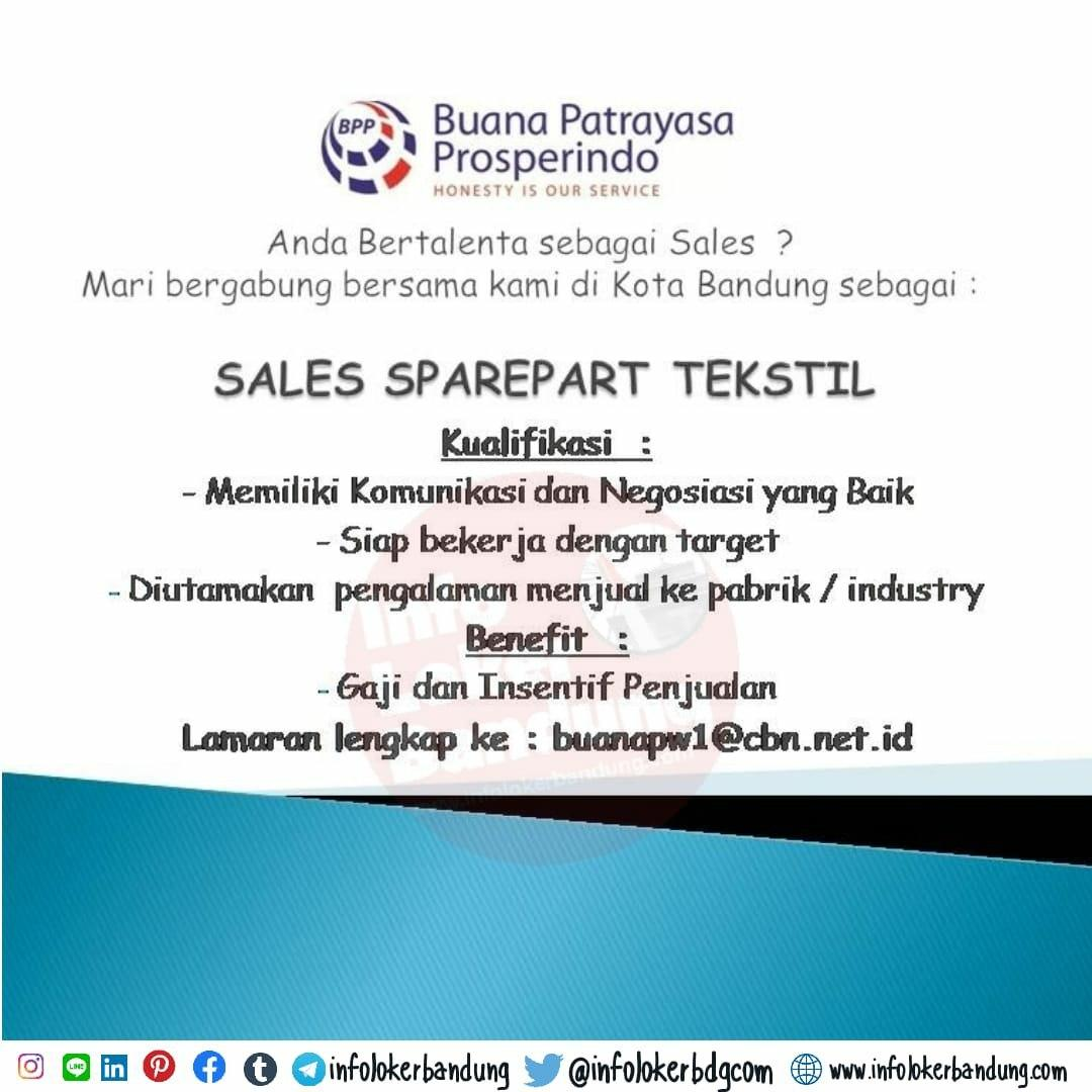 Lowongan Kerja Sales Sparepart Buana Patrayasa Prosperindo Bandung Februari 2020